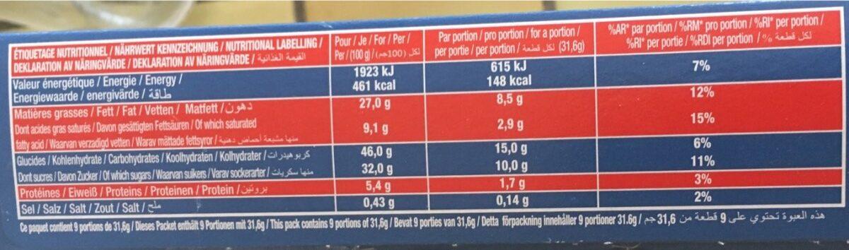 Brownie chocolat pépites - Voedingswaarden