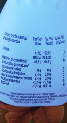 Volvic infusion - Informations nutritionnelles