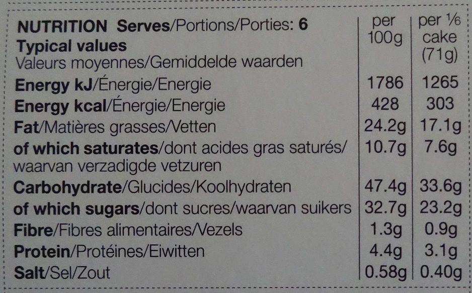 Cake Tiramisu - Nutrition facts - fr