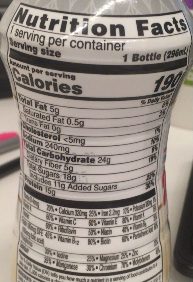 Protein shake - Nutrition facts - en