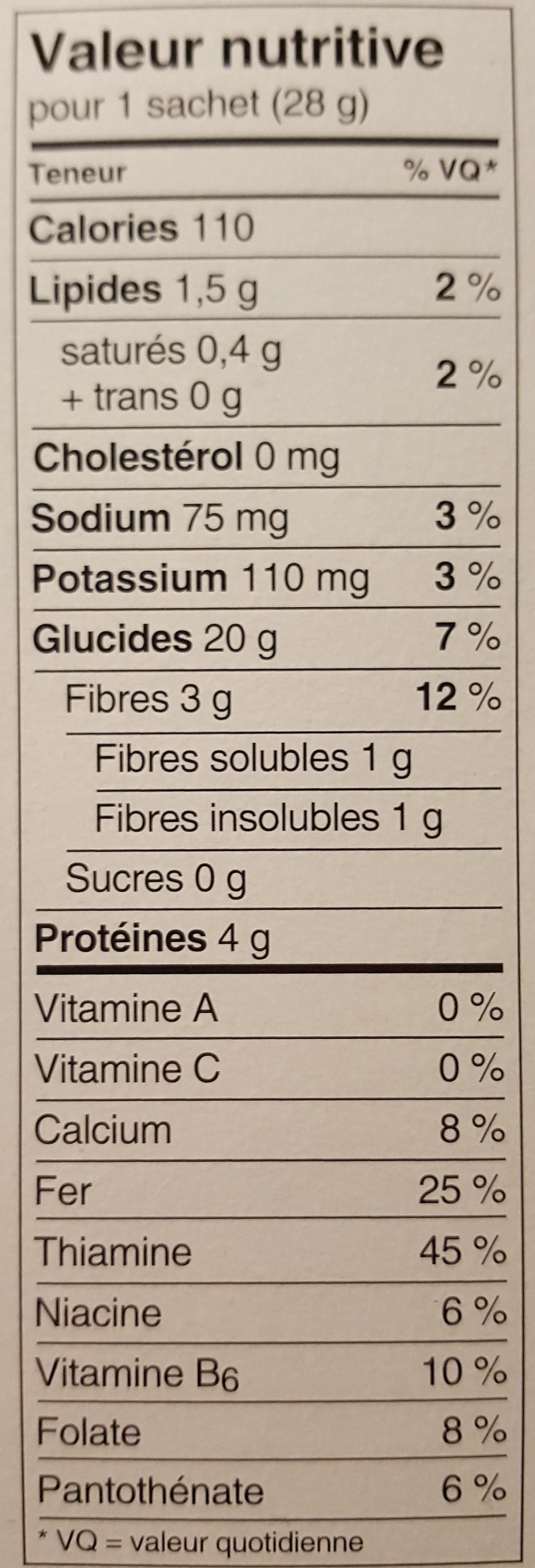 Gruau instantané nature - Informations nutritionnelles - fr