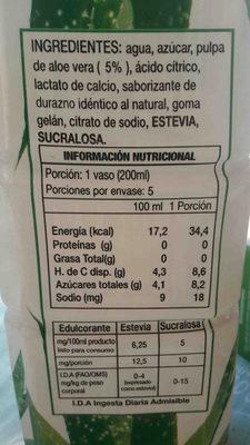 bebida de aloe vera sabor durazno - Ingredientes