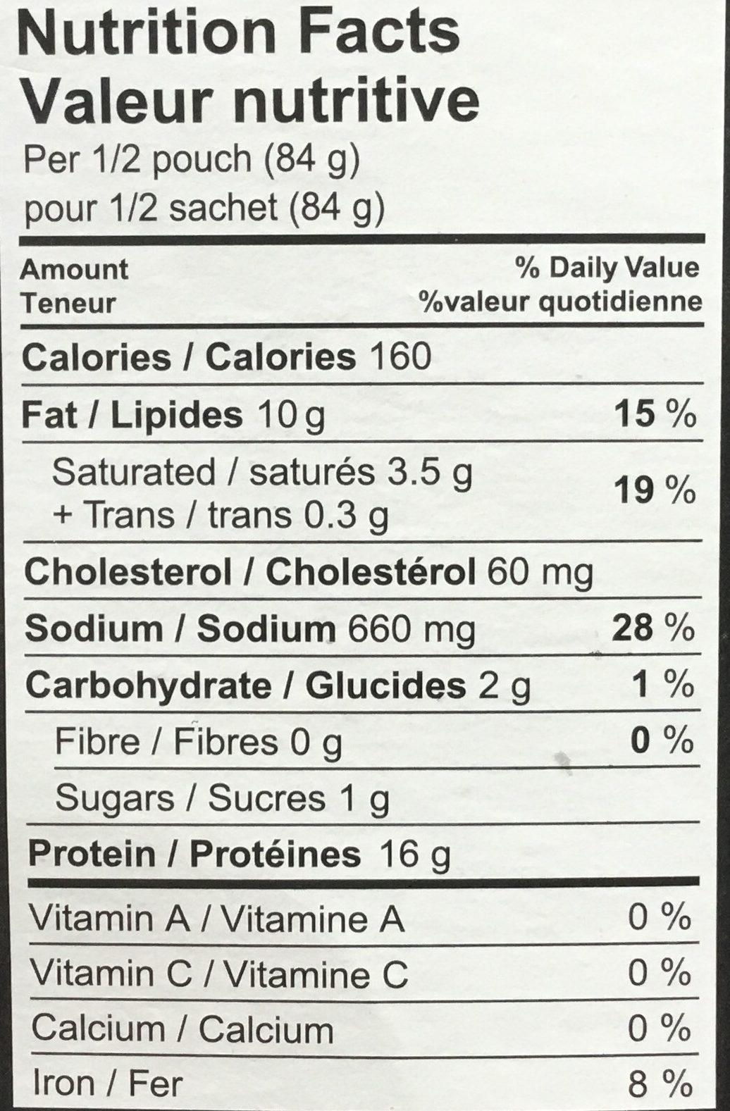 Montréal Smoked Meat - Informations nutritionnelles