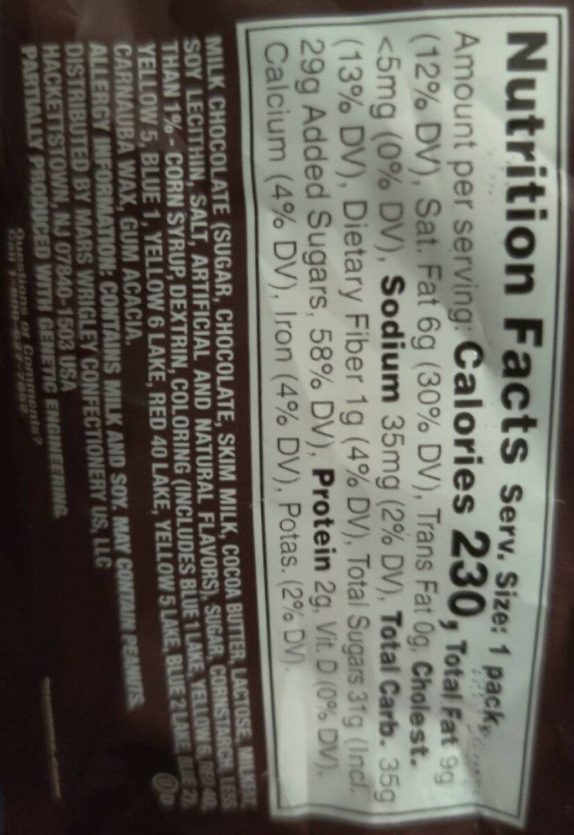 M&M's Milk Chocolate Candies - Nutrition facts - en