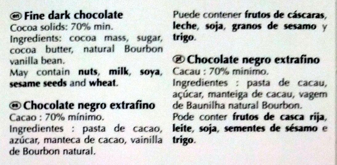 Dark Chocolate 70% Cocoa - Ingredients