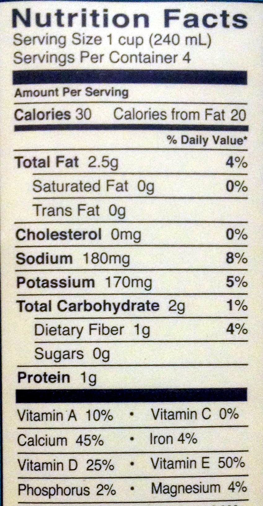 Almond Milk Unsweetened - Nutrition facts - en