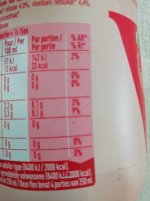 FRAISE BIO INFUSEE - Nutrition facts