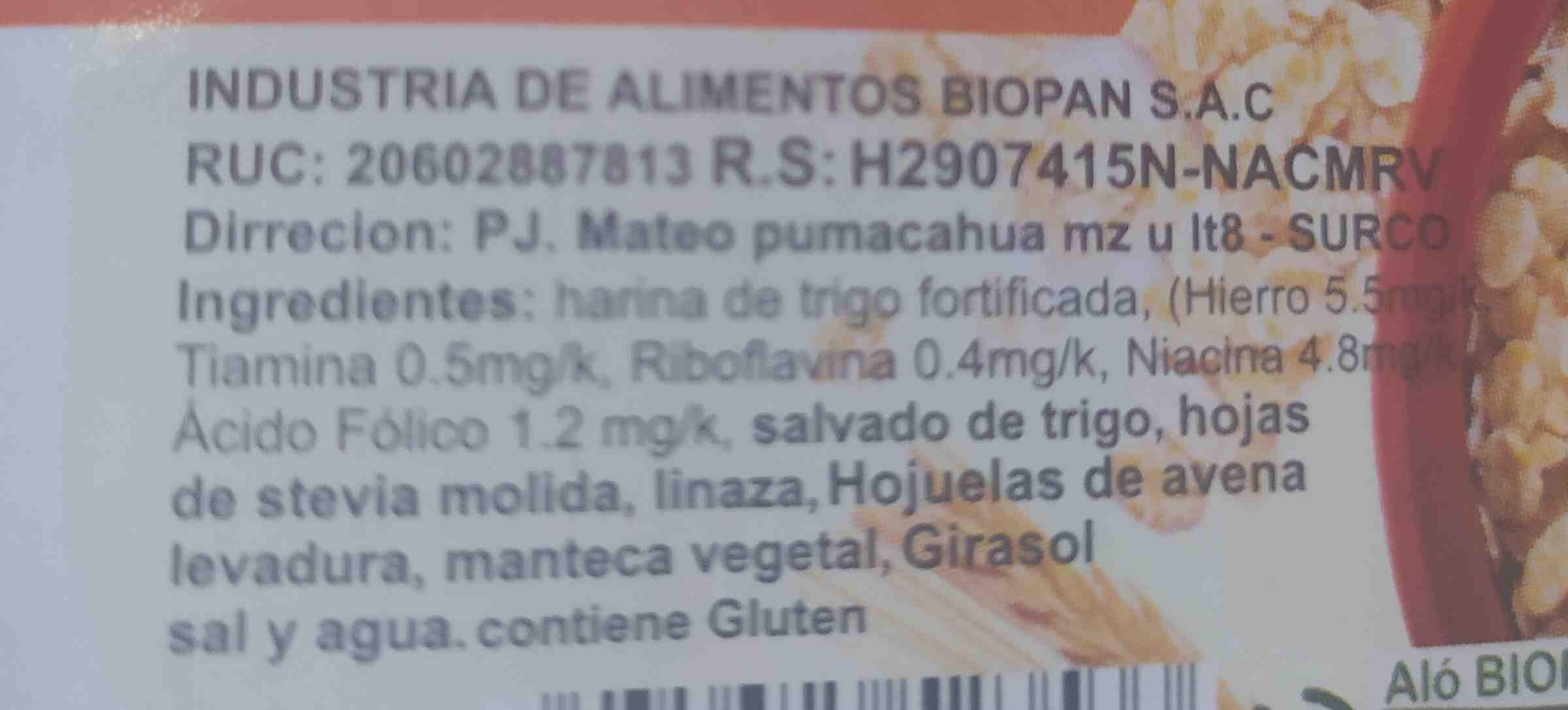 bio pan - Ingredientes - en