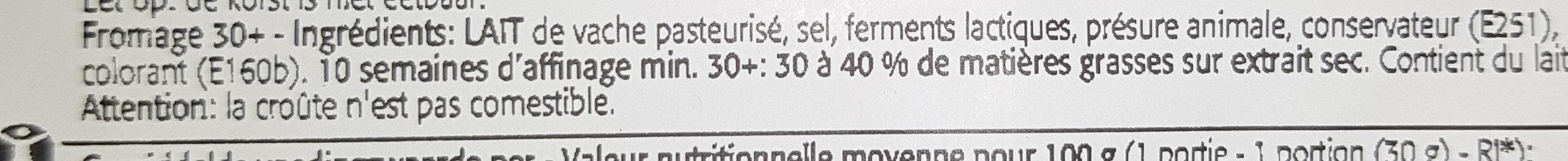 Noord Hollander Light 21% - Jeune Gouda reposé - Ingrediënten - fr
