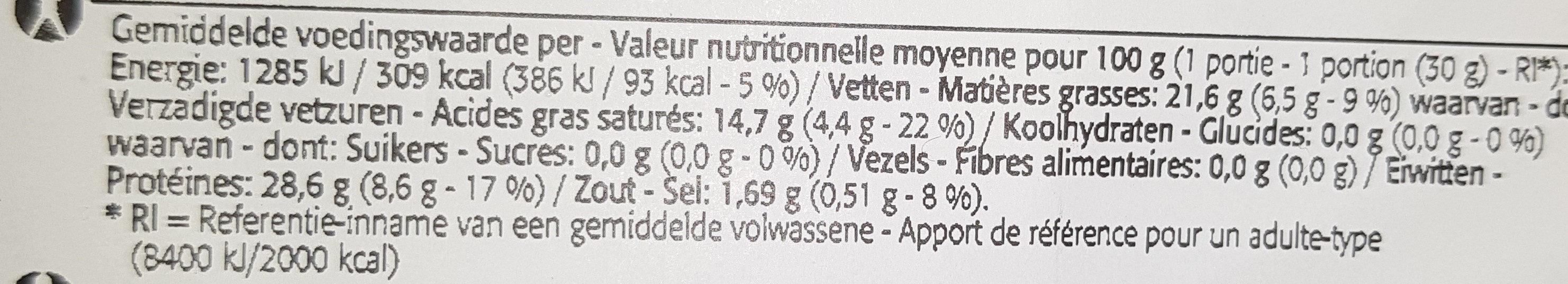 Noord Hollander Light 21% - Jeune Gouda reposé - Voedingswaarden - fr