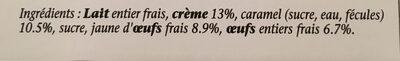 Crème caramel - Ingrédients - fr