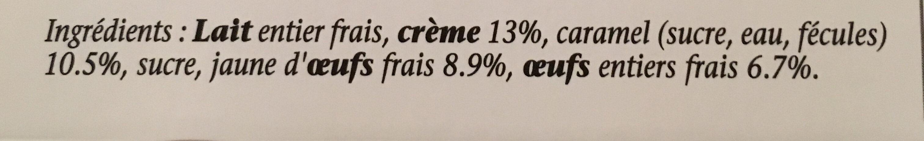 Crème caramel - Ingredients