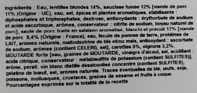 petit salé aux lentilles - Ingredients - fr