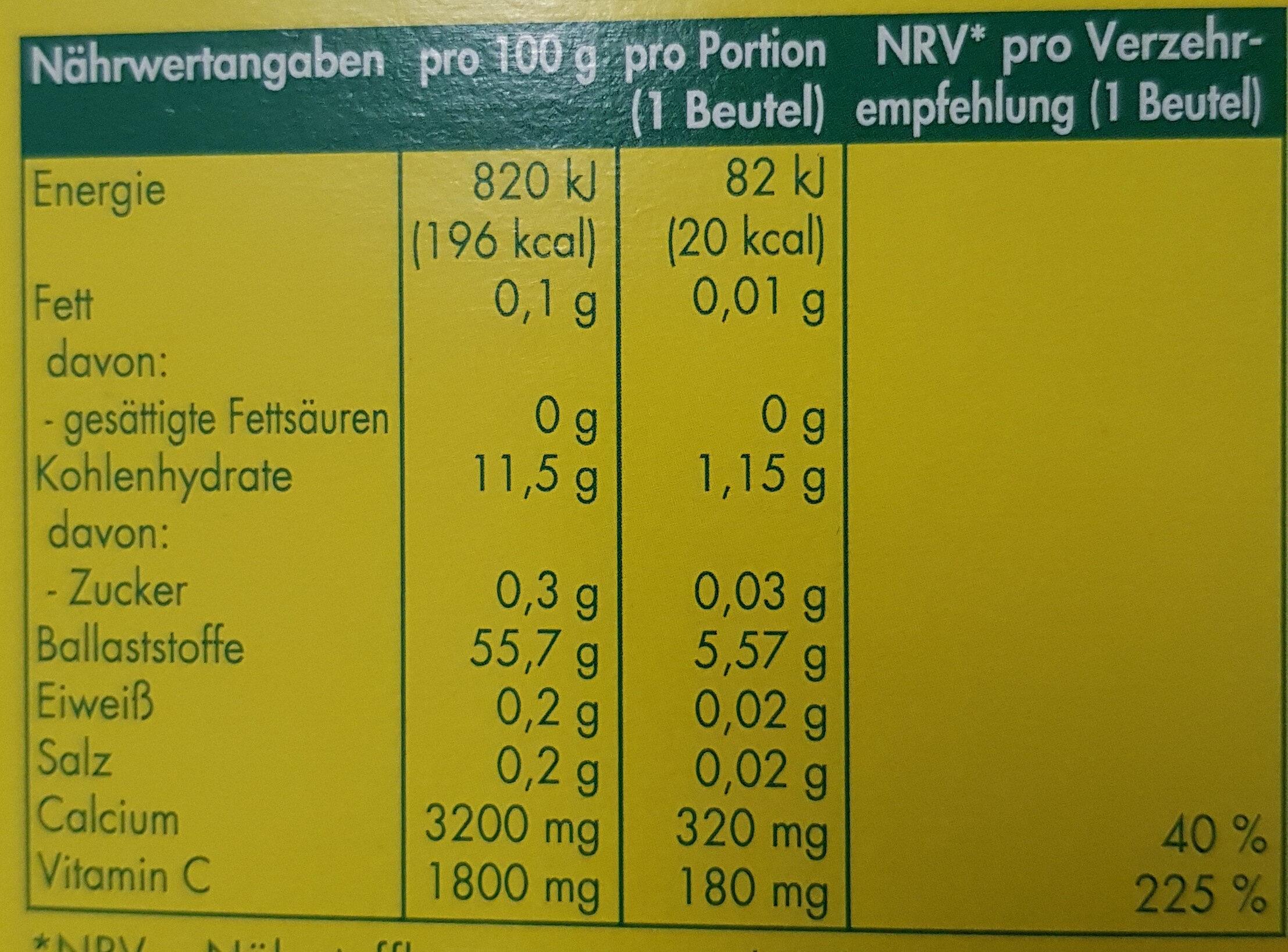 Heisse Zitrone - Nutrition facts - de