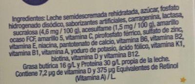 Vaquitas leche semidescremada sabor vainilla - Ingredients