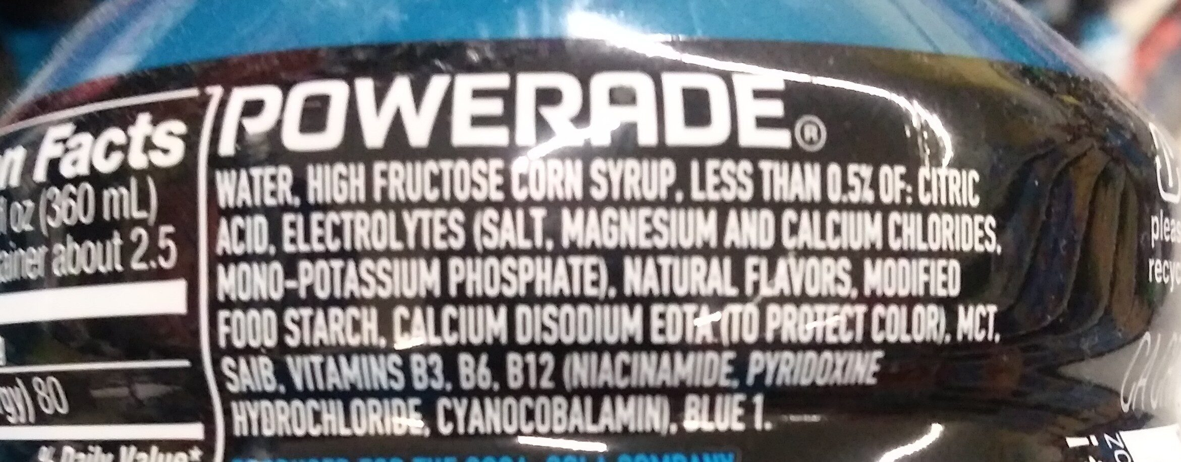 powerade - Ingredients