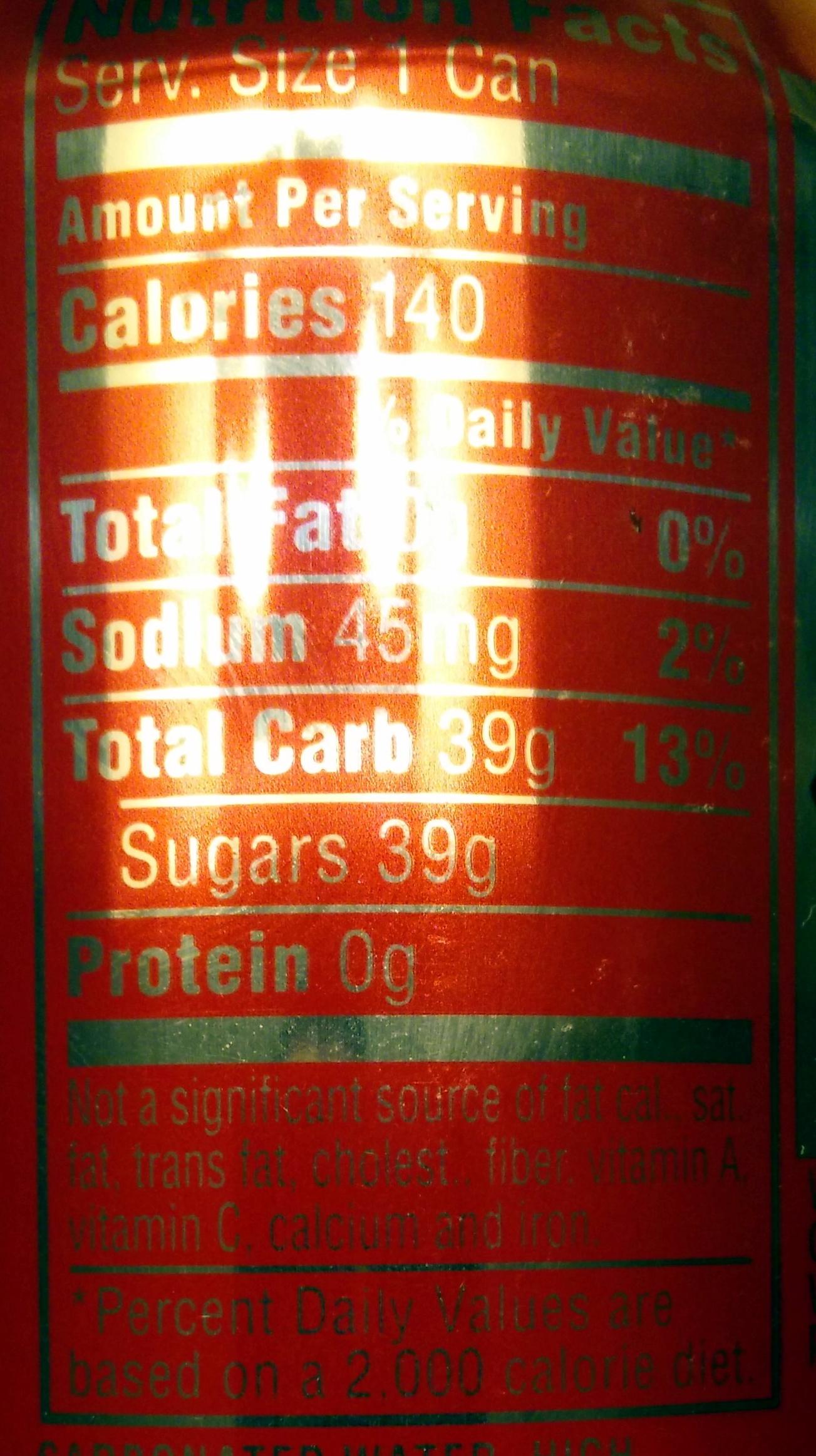 Coca Cola Nutrition Facts Canada Coca-cola Nutrition Facts
