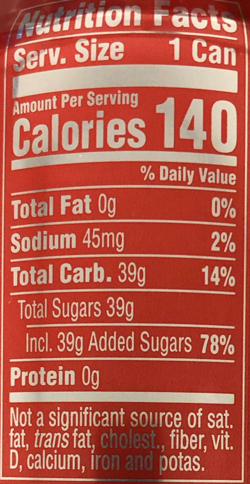 Coca-Cola - Nutrition facts - en