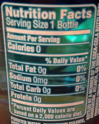 Dasani purified water - Nutrition facts