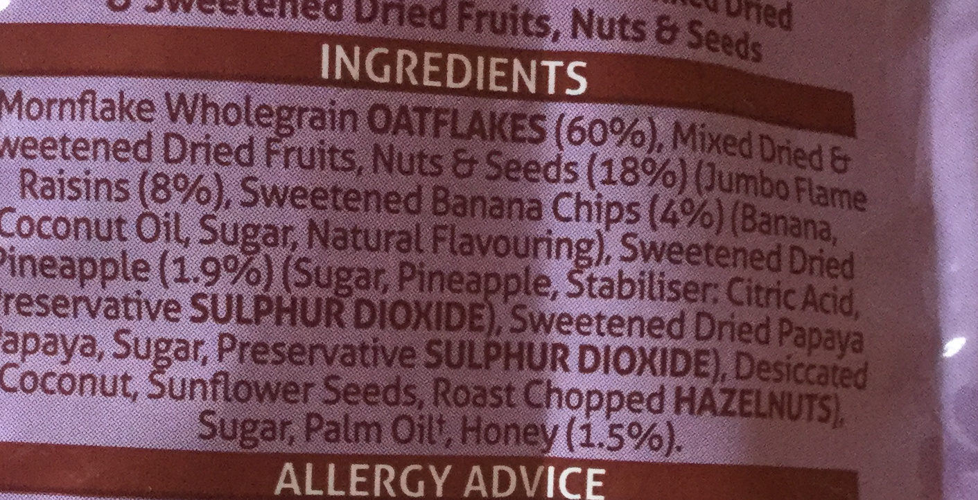 Hawaiian oat granola - Ingredients