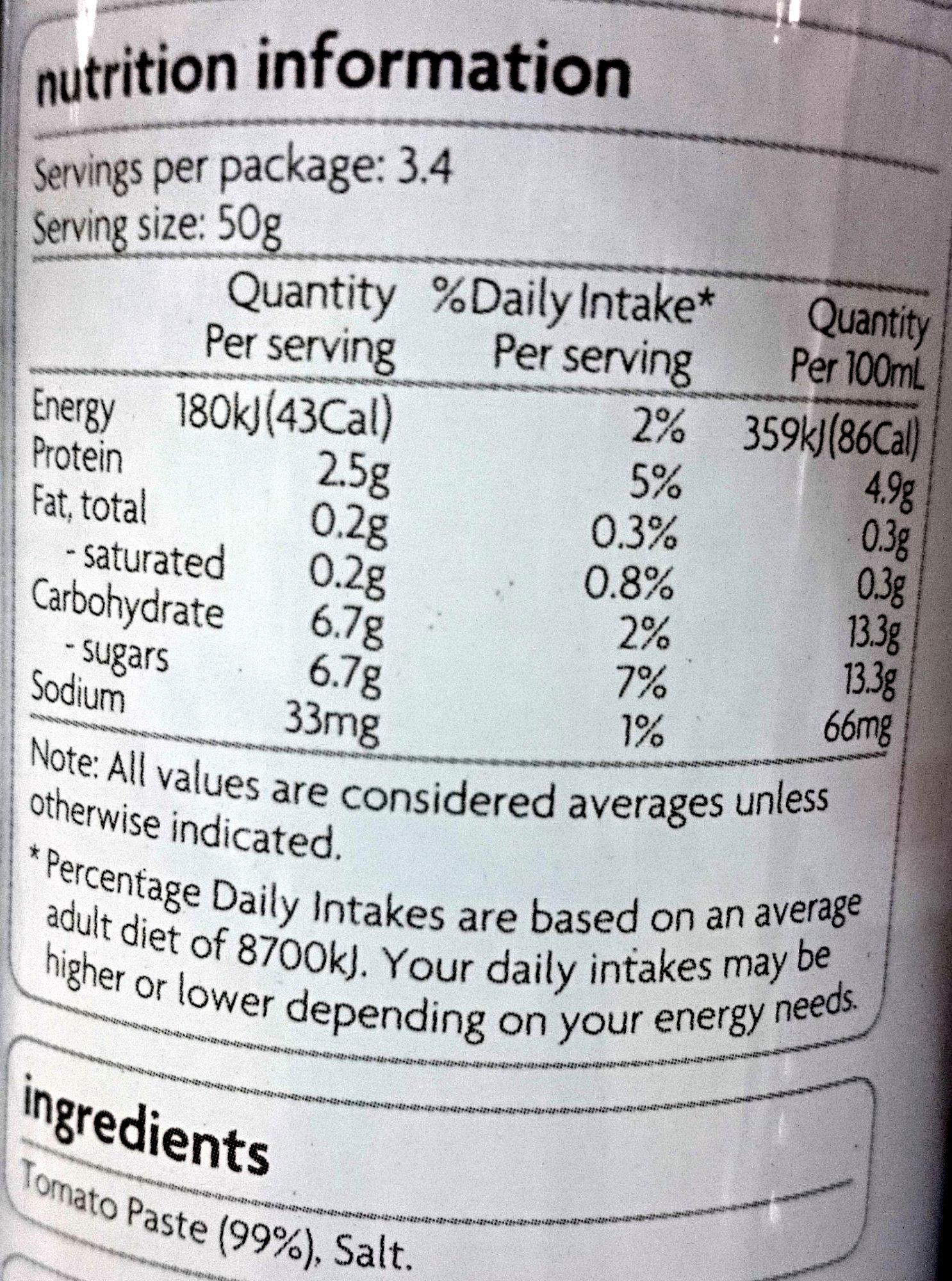 Coles Smart Buy Tomato Paste - Nutrition facts - en
