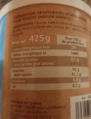 Lagrange aromatisation pour yaourt vanille - Product - fr