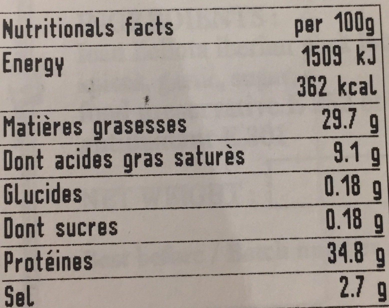 Lomo blanc - Informations nutritionnelles - fr