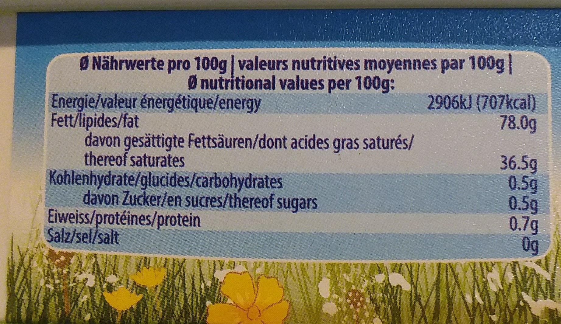 Bura - Informations nutritionnelles
