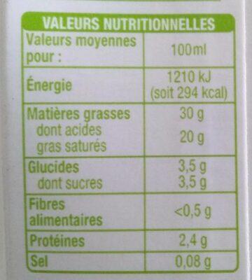 Crème entière fluide Equitable - Voedingswaarden - fr