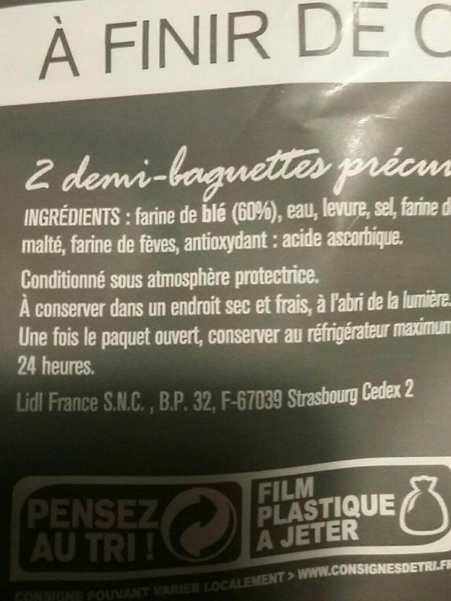 Demi baguette à cuire - Ingrédients - fr