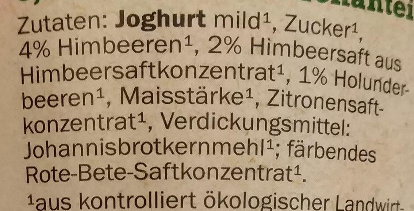 Bio-Fruchtjoghurt mild Himbeere-Holunderbeere - Ingredients