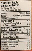 Sauce BBQ Kansas City - Nutrition facts - fr