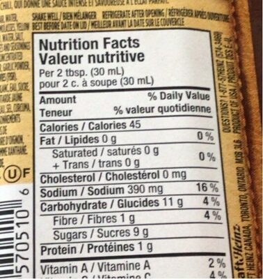 Texas Style BBQ Sauce - Nutrition facts - fr