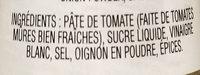 Ketchup - Ingredients - fr