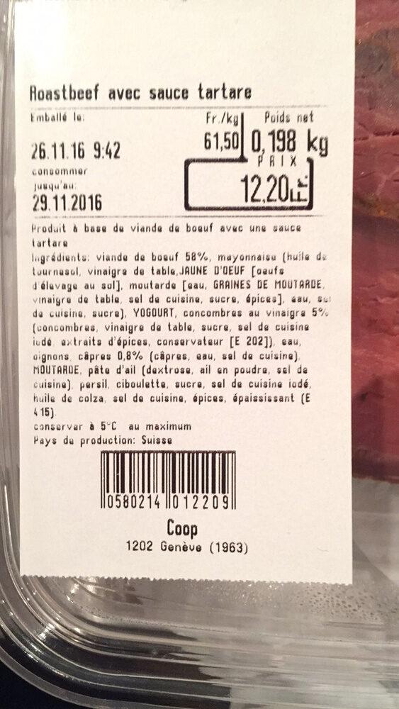 Roastbeef avec sauce tartare - Ingredients