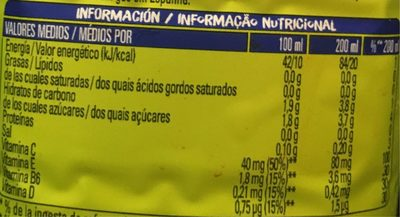 Jus de Citron - Nutrition facts - fr