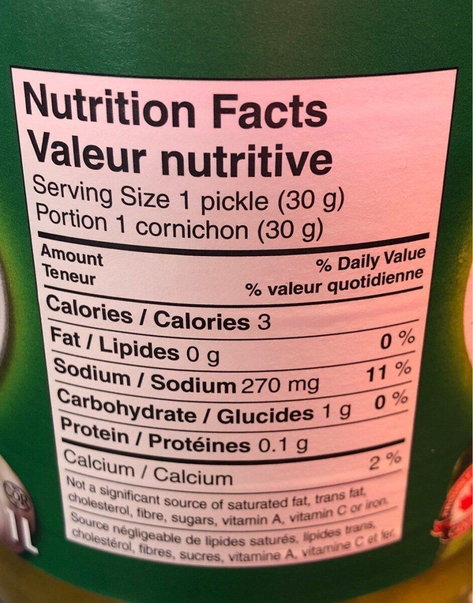 Mini cornichons aneth et ail - Informations nutritionnelles - en