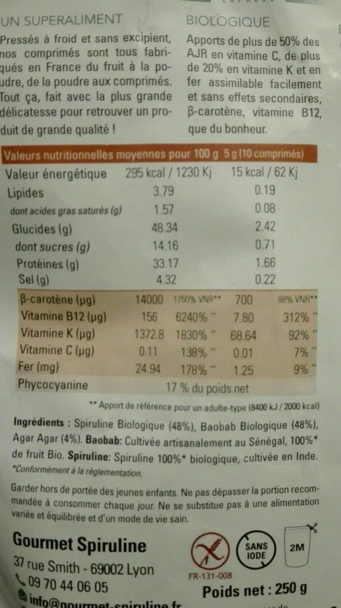 Gourmet spiruline - Ingredients - fr