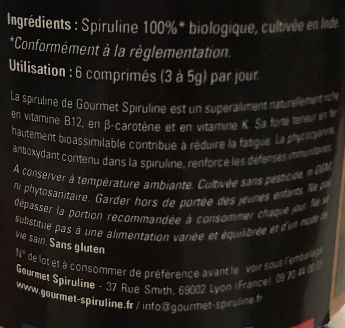 Spiruline en comprimés - Ingredients - fr