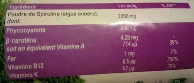 Spiruline en poudre - Nutrition facts - fr