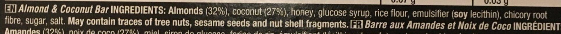 Almond & Coconut Fruit & Nut Bar - Nutrition facts - en