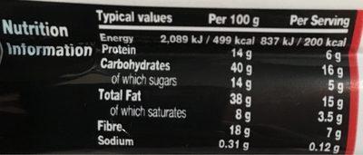 Barre Chocolat Noir, Noix & Sel de Mer - Informations nutritionnelles