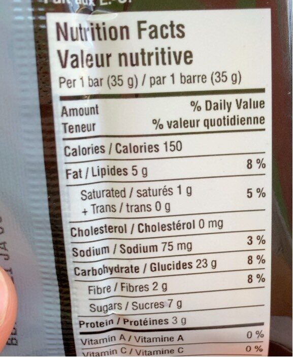 Heathy grains granola bar - Informations nutritionnelles - en