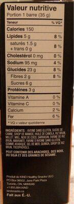 Kind healty grains - Informations nutritionnelles - en