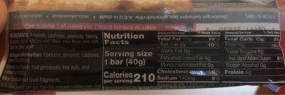 Kind Honey Roasted Nuts & Sea Salt Bar - Nutrition facts
