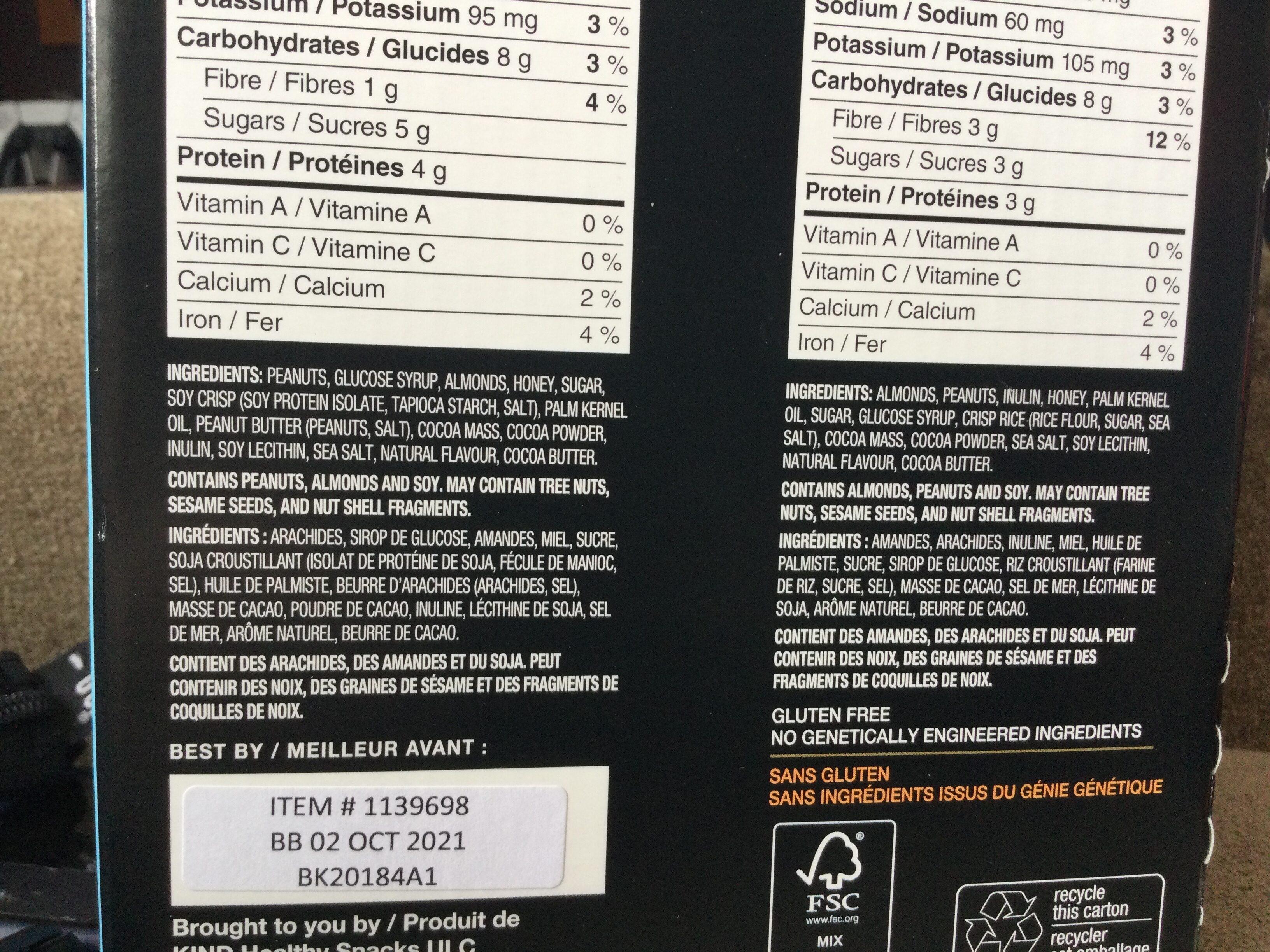 Kind minis peanut butter and dark chocolate - Ingredients - en