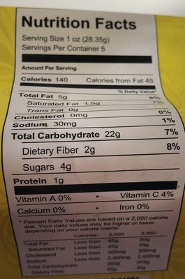 Sweet Potato Snack - Nutrition facts