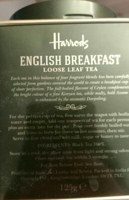 English breakfast loose leaf tea - Ingrediënten