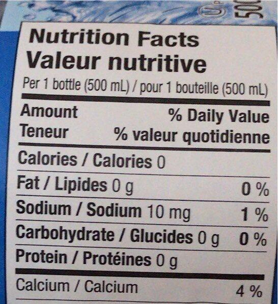 Eau de source naturelle - Voedingswaarden - en