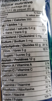 Spaghettini - Informations nutritionnelles - en